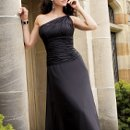 Style #1220 Sheer ruched chiffon one shoulder bodice with a ruched midriff and soft A-line skirt. Available in short, knee and floor lengths. Available in over 75 colors!