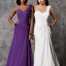 Style #D580 Shown in White and in Pansy…Ruched A-line chiffon gown with full skirt and sweetheart neckline. One shoulder of matching flowers, front to back. Available in over 75 colors!
