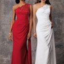 Style #D582 Shown in White and in Cherry…Lace one shoulder gown has sheer shoulder over sweetheart neckline. Ruched waist and draped skirt with sweep train.