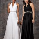 Style #D583 Shown in White and in Black…Ruched chiffon halter with full skirt and attached bead belt.