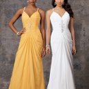 Style #D584 Shown in White and in Lemon…Ruched chiffon gown with sweep train. Beaded accent and straps.
