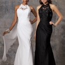 Style #D585 Shown in White and in Black…Sheer lace halter over sweetheart neckline. Lace accents the side draped chiffon skirt with sweep train. Removable float at back neckline.