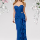 Style #652 Shown in Royal...Draped gown with sweetheart neckline. Side flounce with rhinestone detail. Removable spaghetti straps included. Available in short, knee and floor lengths.