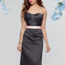 Style #659 Shown in Pewter…Pleated bodice with softened sweetheart neckline. Modified trumpet skirt with pockets and satin ribbon sash. Removable spaghetti straps included. Available in short, knee and floor lengths.