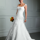 Aariana 9102 Layers of Satin Organza flounces blend seamlessly into a beautifully draped bodice of this chapel train gown. The Romance Satin corset back provides an excellent fit. The matching beading cap sleeves are removable. Available with a zipper or lace-up back.