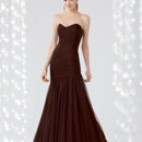 Couture Collection 1825 Shown in Chocolate…Shirred Swiss Tulle mermaid gown with softened sweetheart neckline and full skirt. Removable spaghetti straps included.