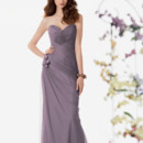 Jordan Bridesmaid 751 Shown in Victorian…Swiss Tulle dress with a draped bodice and sweetheart neckline. Side draped fluted skirt with coordinating flower trim. Removable spaghetti straps included.