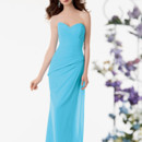 Jordan Bridesmaid 760 Shown in Blue Topaz…Chiffon dress with an asymmetric pleated body and sweetheart neckline. Side draped fluted skirt. Removable spaghetti straps included.