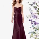 Jordan Bridesmaid 773 Shown in Port…Luxe Taffeta dress with a pleated body and sweetheart neckline. Beaded detail at waist. Fluted skirt. Removable spaghetti straps included.