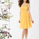Jordan Bridesmaid 774 Shown in Lemon…Short one shoulder Chiffon dress with draped empire bodice and draped A-line skirt.