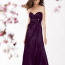 Jordan Bridesmaid 778 Shown in Aubergine…Charmeuse dress with a pleated empire bodice, sweetheart neckline and attached belt with rhinestone detail. A-line skirt with draped overskirt. Removable spaghetti straps included.