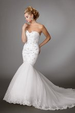 Style #M201 Shown in Diamond White…Beaded and embroidered mermaid gown with sweetheart neckline. Full organza skirt with semi cathedral train and lace hem. Button back. Removable spaghetti straps included. Available with a zipper or lace-up back.