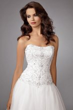 Style #M212 Shown in Diamond White…Strapless beaded bodice with full organza skirt. Chapel train. Removable spaghetti straps included.