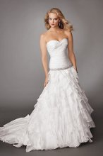 Style #M214 Shown in Diamond White…Draped strapless bodice with sweetheart neckline and buttons and loops on center back. Beaded band detail. Flounced organza skirt with cathedral train. Removable spaghetti straps included. Available with a zipper or lace-up back.