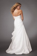 Style #M263 Shown in Diamond White…Strapless taffeta gown with fan neckline and pleated bodice. Draped skirt with bubble hem chapel train. Beaded accents and corset back. Removable spaghetti straps included. Available with a zipper or lace-up back.