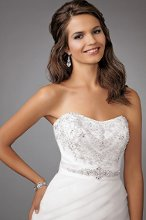 Style #M266 Shown in Diamond White…Beaded bodice with softened sweetheart neckline. Satin waistband with beaded detail. Fit and flare skirt of bias organza pleats with semi cathedral train. Removable spaghetti straps included.