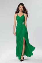 Style # 641 Shown in Emerald…Draped chiffon gown with front slit. V neckline with halter strap. Available in short, knee and floor lengths.