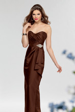 Style #645 Shown in Chocolate…Draped taffeta gown with sweetheart neckline and wrapped pencil skirt. Waistband accented with rhinestone applique. Removable spaghetti straps
