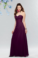 Style #649 Shown in Eggplant…Shirred sweetheart bodice with lace waistband. Draped chiffon A-line skirt. Removable spaghetti straps included. Available in short, knee and floor lengths.