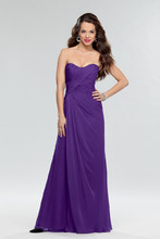 Style #650 Shown in Pansy…Draped chiffon gown with softened sweetheart neckline. Removable spaghetti straps included. Available in short, knee and floor lengths.