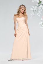 Style #651 Shown in Ice Pink…Side draped chiffon gown with sweetheart neckline. Removable spaghetti straps included. Available in short, knee and floor lengths.