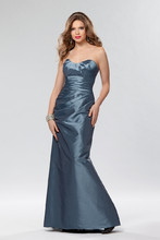 Style #654 Shown in Copen…Draped taffeta gown with trumpet skirt. Lace up back. Removable spaghetti straps included. Available in short, knee and floor lengths.