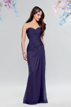 Style # 656 Shown in Amethyst…Draped chiffon gown with fluted hem and sweetheart neckline. Removable spaghetti straps included. Available in short, knee and floor lengths.