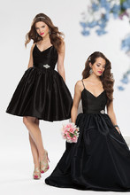 Style #660 Shown in Black…Short taffeta dress with camisole bodice. Flare skirt with pockets and rhinestone embellished band accentuate a small waistline. Available in short, knee and floor lengths.