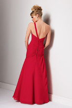 Style #1700 Back Shown in Cherry…Draped one shoulder chiffon gown with sheer neckline and full trumpet skirt.