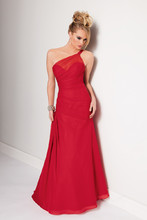 Style #1700 Shown in Cherry…Draped one shoulder chiffon gown with sheer neckline and full trumpet skirt.