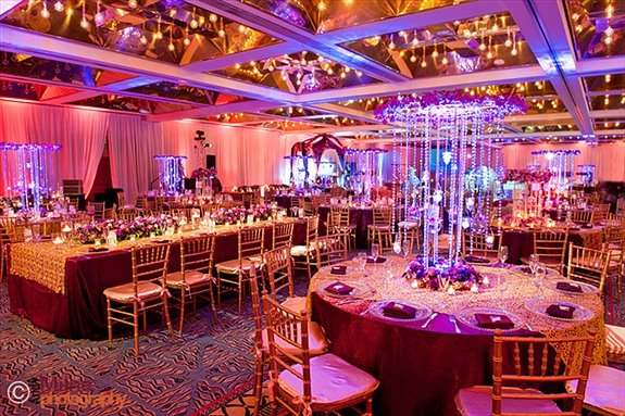 Modern Burgundy Gold Purple White Fall Indoor Reception