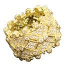 Deco Estate Wide Ring18k yellow gold band ring with pave and bezel set full cut, brilliant diamonds. 1.992 carats