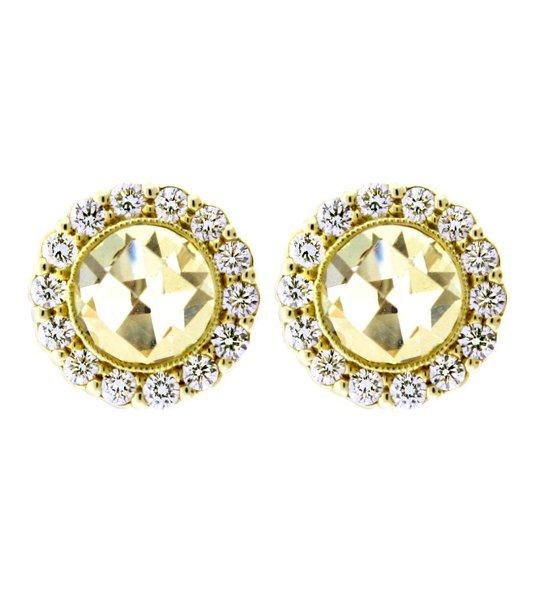 <b>Round Stud Earring, Pave Diamond Frame</b><br>Style #FTE1094Y-DICA<br>18kt yellow gold stud earrings with canary crystal center stones and full cut, prong set diamond frame.