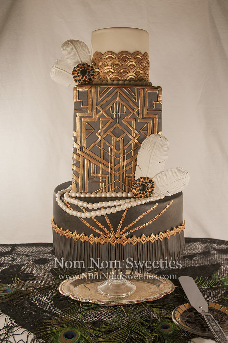 Hollywood Glam Vintage Black Gold Gray White Fondant Multi