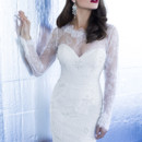 Yumi Katsura Couture Style Juno Short  Chantilly lace, knee length frock, with sheer long sleeves.