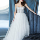 Yumi Katsura Couture Style Hera Silver  Dramatic ball gown with exquisitely hand beaded draped bodice, and soft tulle skirt.