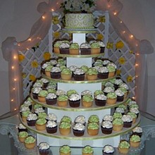 220x220 sq 1277695692913 greenwhitecupcakeweddingcakers10