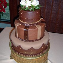 220x220 sq 1293861540546 chocolategoldweddingcakers10