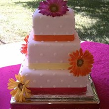 220x220 sq 1310610029999 fondantsquarepushdotdaisyweddingcakers11