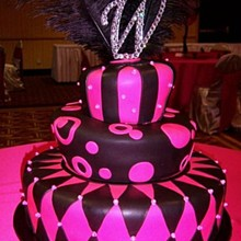220x220 sq 1326160835052 hotpinkblacktopsyturveyweddingcakers11