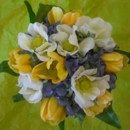 130x130 sq 1388695117998 silk white anemone yellow tulip and blue hydrangea