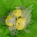 130x130 sq 1400841816660 corsage yellow ranunuclus dusty miller  white waxf