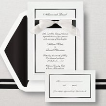 Simplicity - This bright white card has an embossed border and a bold colored band to showcase your names at the top. Add a touch of elegance with a pre-tied stick-on organza bow. Exclusively Weddings offers this classic design with your choice of border color in Black, Gold, Pearl, Red, and Silver. Order Your Free Sample Today!