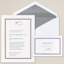 Colorful Chic - This contemporary wedding invitation features a sophisticated double-embossed border. Exclusively Weddings offers 7 exciting border color choices to highlight the simplicity and chic style of this invitation: black, brown, hot pink, lemon, purple, tangerine and tropical blue. Order Your Free Sample Today!