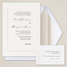 Classic Couture - A truly refined look to complement your wedding style, this heavy card stock invitation has a single panel to beautifully frame your wedding invitation wording. Exclusively Weddings offers your choice of three classic paper colors: Bright White, Soft White and Ecru. Order Your Free Sample Today!