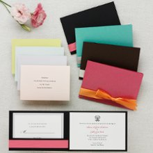 Stylish Wrap Invitation - Sleek and stylish, this all-inclusive pocket-style wedding invitation is sure to impress. Exclusively Weddings offers five reception card paper colors: Pink, Citron, Teal, Bright White and Antique White. The folder comes in your choice of Black, Brown, Azalea Pink and Lagoon Blue. (Ribbon sold separately.) Order Your Free Sample Today!