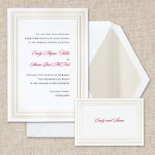Pearl Pleasure - A wide,decorative pearl paneled border enhances this classic Bright White non-folding card from Exclusively Weddings. Order Your Free Sample Today!