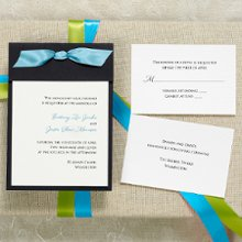Color Duet - This simply chic invitation is sure to impress. Assembly is a breeze: Place the invitation on the backer card and fold down the top, thread your ribbon through the pre-cut holes and trim. Exclusively Weddings offers this invitation in black and brown. Ribbon sold separately in a wide array of colors. Order Your Free Sample Today!