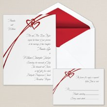 Soaring Hearts - Along with a romantic soaring heart design, this non-folding card features the couple's names on the front of the invitation. Exclusively Weddings offers the heart design in your choice of red or silver. Order Your Free Sample Today!