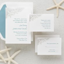 Starfish - Awash in a sea of love --- that's the impression your guests will receive when they open the envelope to discover two starfish riding the edge of the wave on this serene wedding invitation. Embossing and a watercolor foil printing give depth and shimmer to this magical wedding ensemble from Exclusively Weddings. Order Your Free Sample Today!